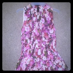 Kate Spade high neck midi floral dress with bow
